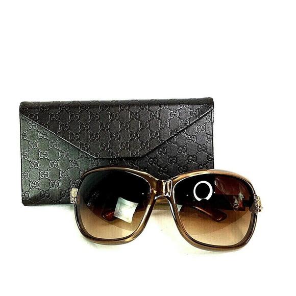 Gucci Women Sunglasses 2985 Brown Diamante Square